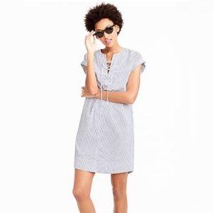 J Crew Striped Lace Up Shirt Dress